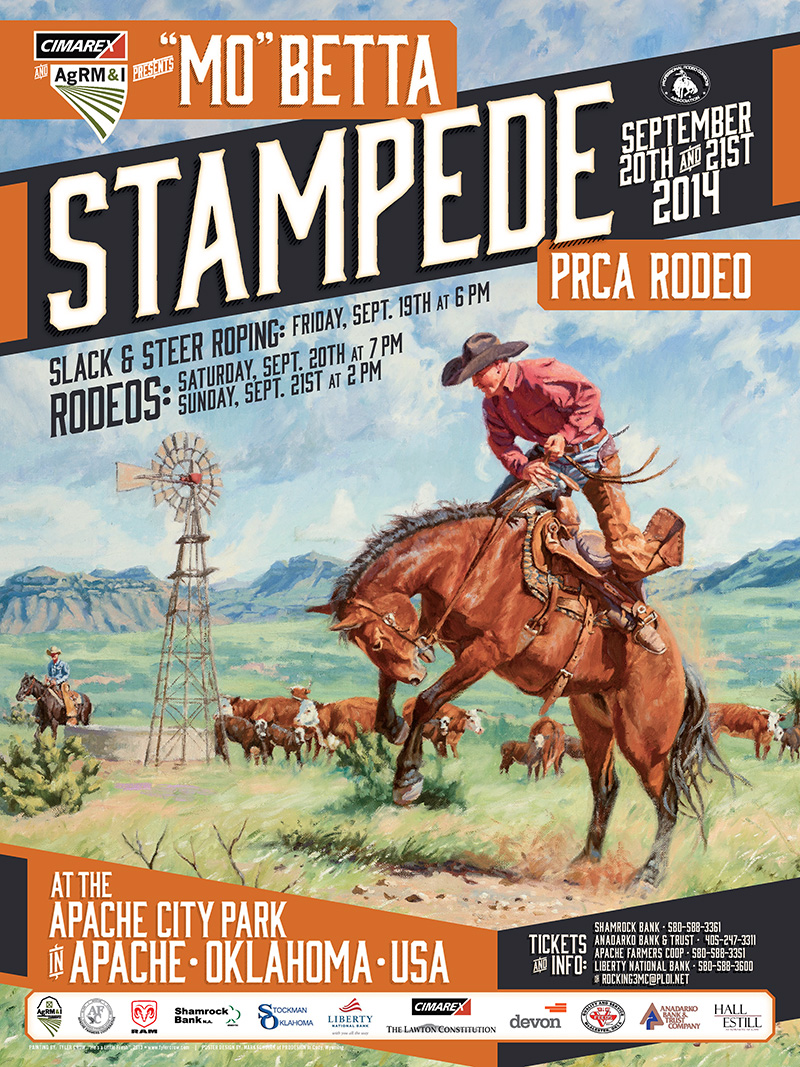 2014 Stampede Rodeo Poster Apache Stampede Prca Rodeo
